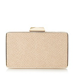 Head Over Heels by Dune - Natural 'Bamby' reptile box clutch bag