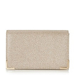 Head Over Heels by Dune - Gold 'Banberry' metal corner fold over clutch bag