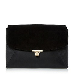 Head Over Heels by Dune - Black 'Bryonie' patchwork flapover clutch bag
