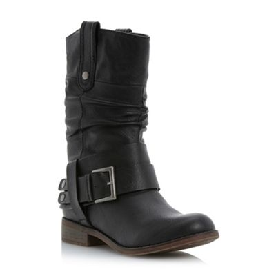 Black synthetic rafter  buckle detail slouch boots