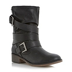 Head Over Heels by Dune - Black faux shearling lined calf boot