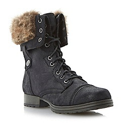 Head Over Heels by Dune - Black foldover faux fur cuff lace up calf boot