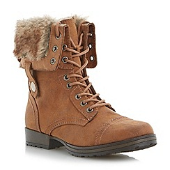 Head Over Heels by Dune - Brown foldover faux fur cuff lace up calf boot