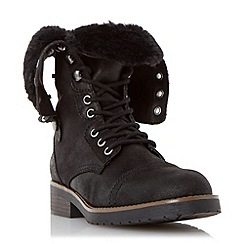 Head Over Heels by Dune - Black fur trim calf boot