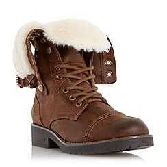 Head Over Heels by Dune - Brown fur trim calf boot