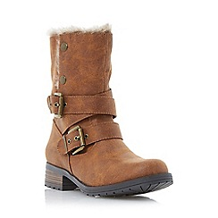 Head Over Heels by Dune - Tan 'Rutt' faux fur lined calf boot