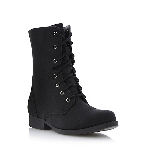 Head Over Heels by Dune - Black toecap detail lace-up boot