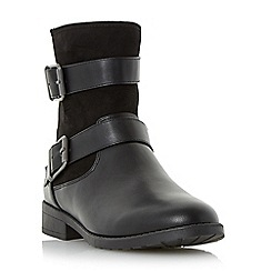 Head Over Heels by Dune - Black 'Ruckle' double buckle detail ankle boot