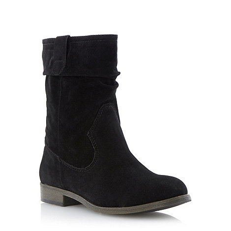 Head Over Heels by Dune - Black slouchy pull on calf boot