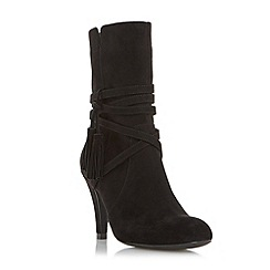 Head Over Heels by Dune - Black 'Reign' wrap around tassel detail calf boot