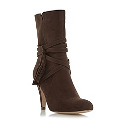 Head Over Heels by Dune - Brown 'Reign' wrap around tassel detail calf boot