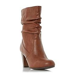 Head Over Heels by Dune - Tan 'Rhonda' ruched calf boot