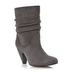 Head Over Heels by Dune - Grey ruched mid heel calf boot
