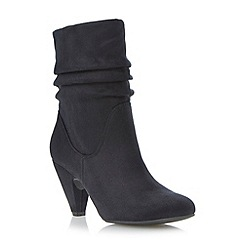 Head Over Heels by Dune - Black ruched mid heel calf boot