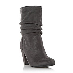 Head Over Heels by Dune - Grey 'Rhoda' ruched dressy heeled boot