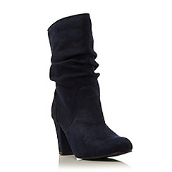 Head Over Heels by Dune - Navy 'Rhoda' ruched dressy heeled boot