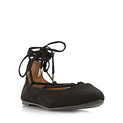 Head Over Heels by Dune - Black 'Halvin' pointed toe ghillie lace up shoe