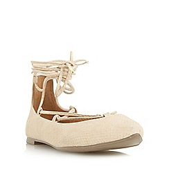 Head Over Heels by Dune - Natural 'Halvin' pointed toe ghillie lace up shoe