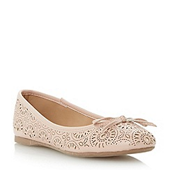 Head Over Heels by Dune - Natural 'Hallow' laser cut ballerina shoe