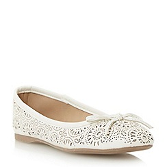 Head Over Heels by Dune - White 'Hallow' laser cut ballerina shoe
