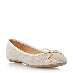 Head Over Heels by Dune - Gold 'Harleen' bow trim ballerina shoe