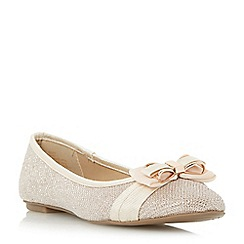 Head Over Heels by Dune - Gold 'Hadia' bow trim ballerina shoe