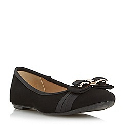 Head Over Heels by Dune - Black 'Hadia' bow trim ballerina shoe