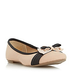 Head Over Heels by Dune - Natural 'Hadia' bow trim ballerina shoe
