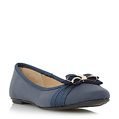 Head Over Heels by Dune - Navy 'Hadia' bow trim ballerina shoe