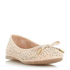 Head Over Heels by Dune - Natural 'Harlone' laser cut bow trim ballerina shoe