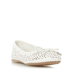 Head Over Heels by Dune - White 'Harlone' laser cut bow trim ballerina shoe