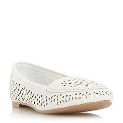 Head Over Heels by Dune - White 'Hasier' laser cut loafer
