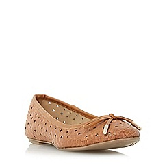 Head Over Heels by Dune - Tan 'Horizon' woven ballet pump