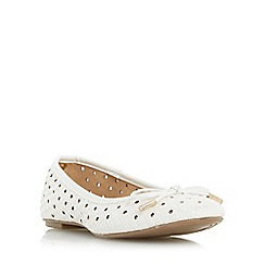 Head Over Heels by Dune - White 'Horizon' woven ballet pump