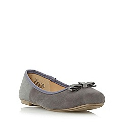 Head Over Heels by Dune - Grey 'Hayls' mixed material squared toe ballerina shoe