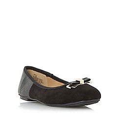 Head Over Heels by Dune - Black 'Hayls' mixed material squared toe ballerina shoe