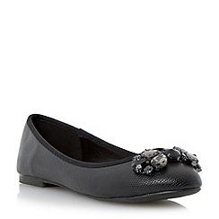Head Over Heels by Dune - Black reptile textured jewelled ballerina shoe