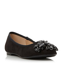 Head Over Heels by Dune - Black-micro_fibre 'Hestiar' jewel detail ballerina shoe