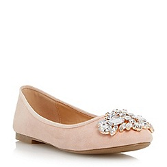 Head Over Heels by Dune - Natural 'Hestiar' jewel detail ballerina shoe