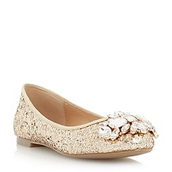 Head Over Heels by Dune - Gold 'Hestiar' jewel detail ballerina shoe