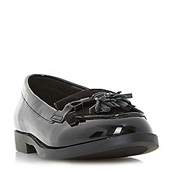 Head Over Heels by Dune - Black 'Gwenie' mixed material bow fringe loafer shoe