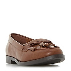 Head Over Heels by Dune - Tan 'Gwenie' mixed material bow fringe loafer shoe