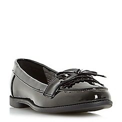 Head Over Heels by Dune - Black 'Gizzy' bow detail tassel flat loafer shoe