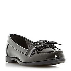 Head Over Heels by Dune - Black 'Gizzy' bow detail tassel flat loafer shoe