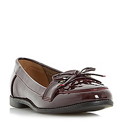 Head Over Heels by Dune - Maroon 'Gizzy' bow detail tassel flat loafer shoe