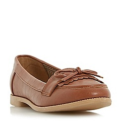 Head Over Heels by Dune - Tan 'Gizzy' bow detail tassel flat loafer shoe