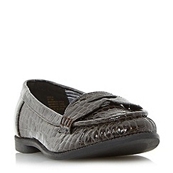 Head Over Heels by Dune - Black 'Guilia' mock croc penny saddle loafer shoe