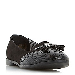 Head Over Heels by Dune - Black 'Lumier' tassel brogue detail slipper shoe