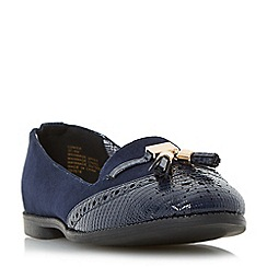 Head Over Heels by Dune - Navy 'Lumier' tassel brogue detail slipper shoe