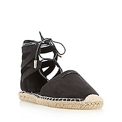 Head Over Heels by Dune - Black 'Gilli' two part ghillie lace espadrille shoe